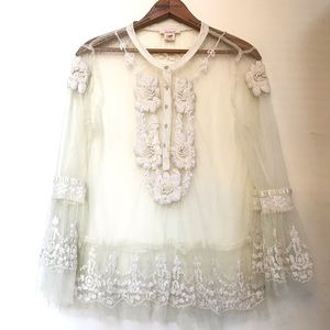 Sundance Embroidered Sheer Lace Net Blouse